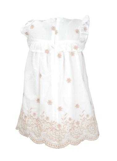 Mininio Beyaz Çiçek Nakışlı Dilimli Etekli Elbise (9ay-4yaş) Beyaz Çiçek Nakışlı Dilimli Etekli Elbise (9ay-4yaş) Beyaz